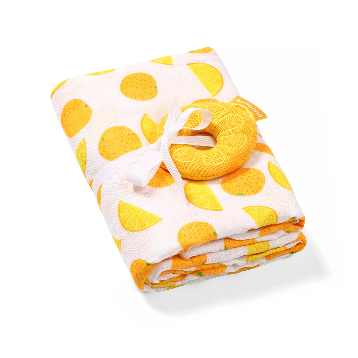BabyOno: Απαλή πάνα αγκαλιάς με μαλακή κουδουνίστρα από Μπαμπού και Βαμβάκι 120*120εκ - Orange
